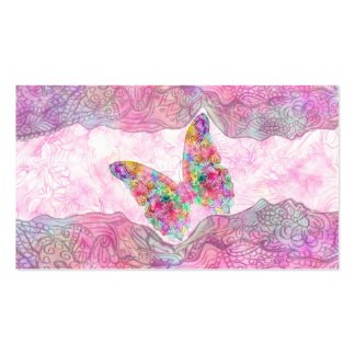 Bright Whimsical Pink Watercolor Paisley Butterfly Business Card