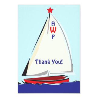 "Bright Whimsical Sailboat Note Card 3.5"" X 5"" Invitation Card"
