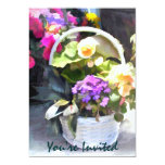 Bright White Basket of Mixed Flowers Invites