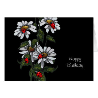 Bright White Daisies with Ladybugs, Freehand Art Card