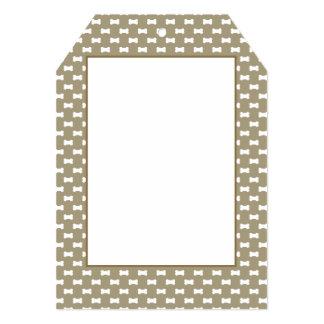 Bright White Dog Bones On khaki Beige Background 5x7 Paper Invitation Card