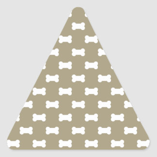 Bright White Dog Bones On khaki Beige Background Triangle Sticker