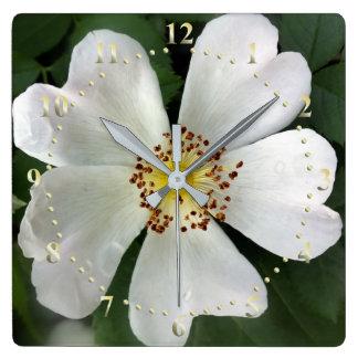 bright white flower square wall clock