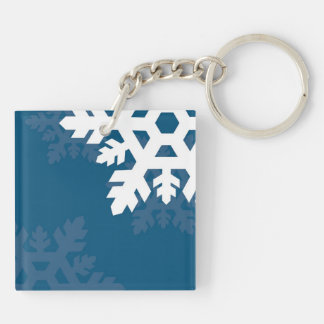 Bright, White Snowflakes against Bright Blue Keychain