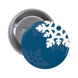 Bright, White Snowflakes against Bright Blue Pinback Button