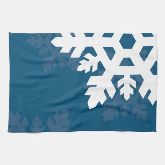 Bright, White Snowflakes against Bright Blue Towel