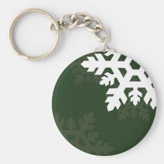 Bright, White Snowflakes against Dark Green Keychain