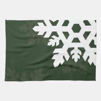 Bright, White Snowflakes against Dark Green Kitchen Towel