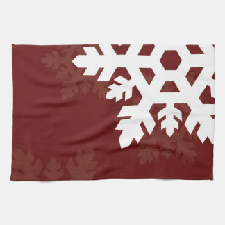 Bright, White Snowflakes against Dark Red Hand Towel