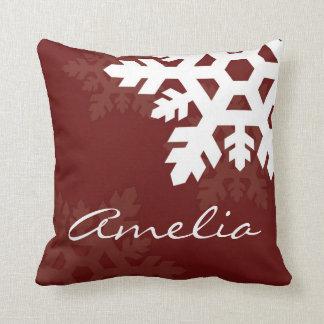 Bright, White Snowflakes against Dark Red Monogram Throw Pillow