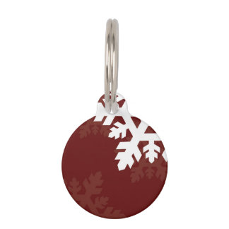 Bright, White Snowflakes against Dark Red Pet ID Tag