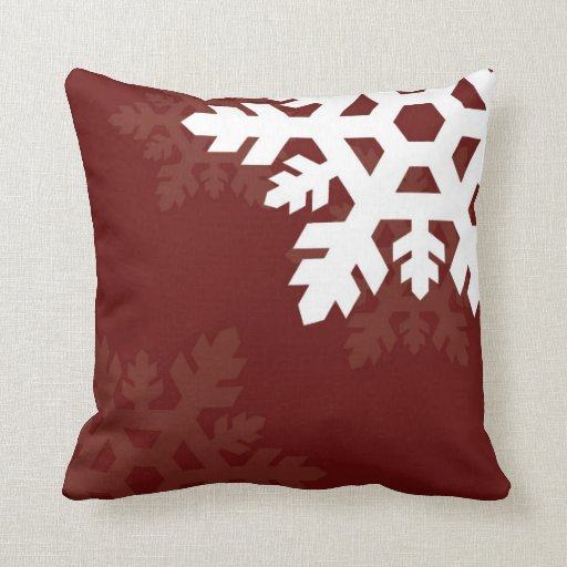 Dark Red Decorative Pillow : Bright, White Snowflakes against Dark Red Throw Pillow Zazzle