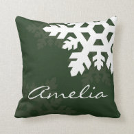 Bright, White Snowflakes against Green Monogrammed Pillow