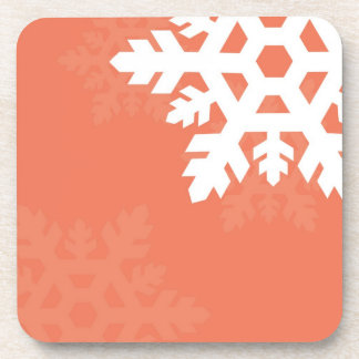 Bright, White Snowflakes against Pink Drink Coaster
