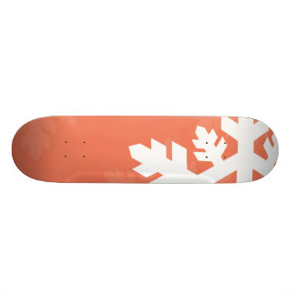 Bright, White Snowflakes against Pink Skateboard Deck