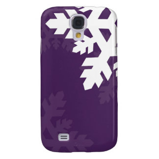 Bright, White Snowflakes against Purple Galaxy S4 Cover