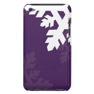 Bright, White Snowflakes against Purple iPod Case-Mate Case