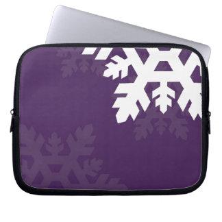 Bright, White Snowflakes against Purple Laptop Sleeve