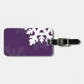 Bright, White Snowflakes against Purple Luggage Tag