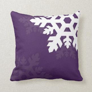 Bright White Snowflakes against Purple Throw Pillow