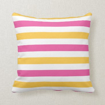 Beach Themed Bright White With Pink and Gold Strpes Throw Pillow