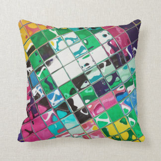 Bright Wild multi color abstract Throw Pillow