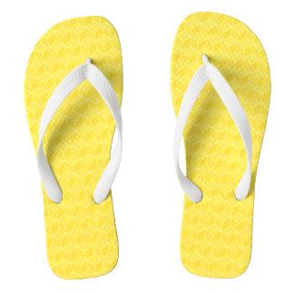 Bright Yellow 3D cubes cascading Flip Flops