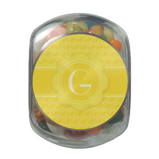 Bright Yellow 3D cubes cascading monogram initials Jelly Belly Candy Jar
