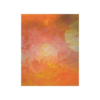 Bright Yellow Abstract Orbiting Worlds Canvas