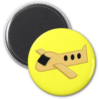 Bright Yellow Airplane 2 Inch Round Magnet