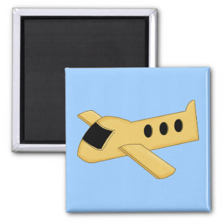 Bright Yellow Airplane 2 Inch Square Magnet