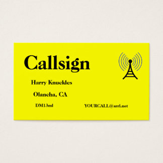 Bright Yellow Amateur Radio Call Sign Business Card