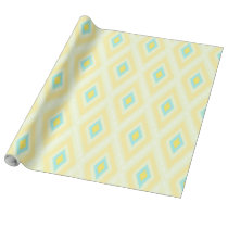 bright yellow and aqua Ikat tribal pattern Wrapping Paper
