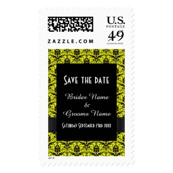 Bright yellow and black damask save the date stamps