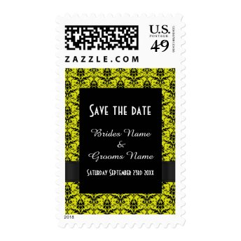 Bright yellow and black damask save the date postage stamp