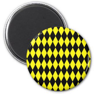Bright Yellow and Black Diamond Harlequin Pattern 2 Inch Round Magnet