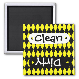 Bright Yellow and Black Diamond Harlequin Pattern 2 Inch Square Magnet