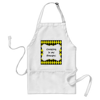 Bright Yellow and Black Diamond Harlequin Pattern Adult Apron