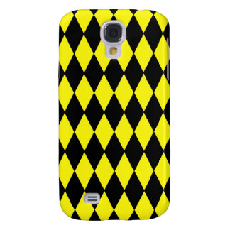 Bright Yellow and Black Diamond Harlequin Pattern Galaxy S4 Cover