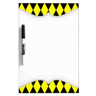 Bright Yellow and Black Diamond Harlequin Pattern Dry-Erase Board