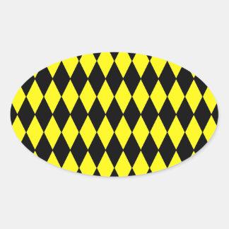 Bright Yellow and Black Diamond Harlequin Pattern Oval Sticker