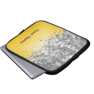 Bright yellow and faux glitter laptop sleeve