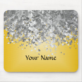 Bright yellow and faux glitter mouse pad