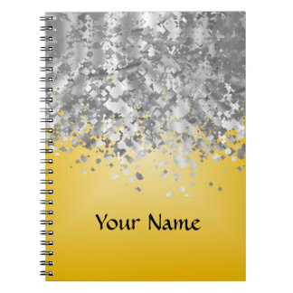 Bright yellow and faux glitter notebook