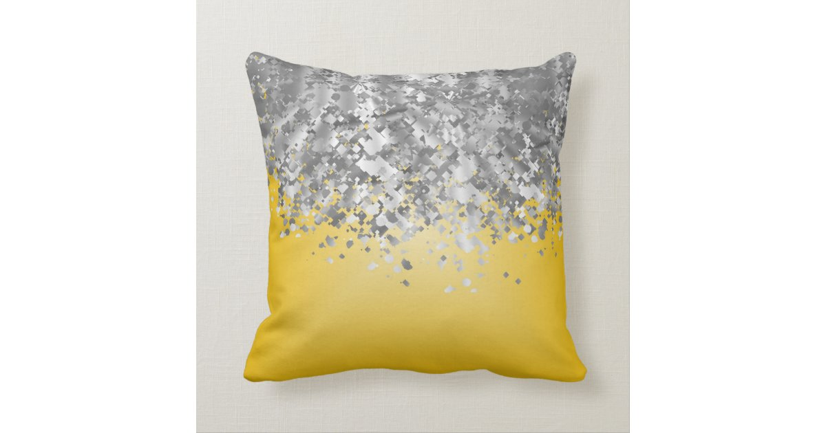 Bright Yellow Decorative Pillows : Bright yellow and faux glitter throw pillow Zazzle