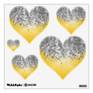 Bright yellow and faux glitter wall decal