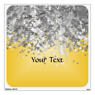 Bright yellow and faux glitter wall sticker