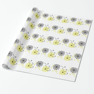 Bright, yellow and gray flowers, gift wrap. wrapping paper