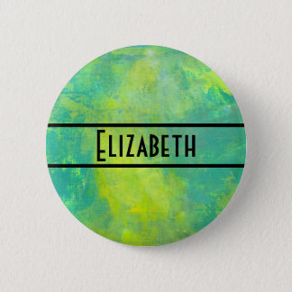 Bright Yellow and Green Abstract Personalized Pinback Button