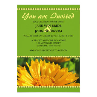 Bright Yellow and Green Coreopsis Flower Card